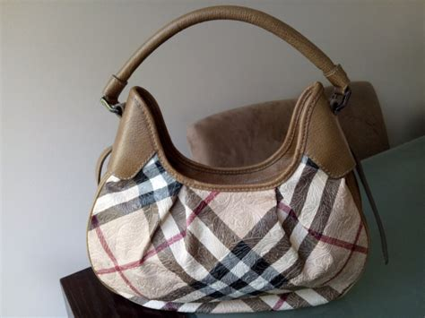 Burberry Debossed Hobo by Burberry Embossed Check Coated Canvas Hobo