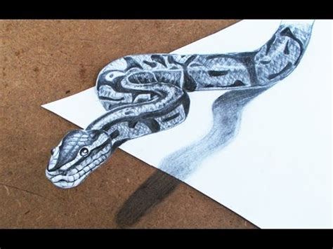 How To Make A 3d Snake Out Of Paper - 3d drawings how to make 3d snake step by step pencil