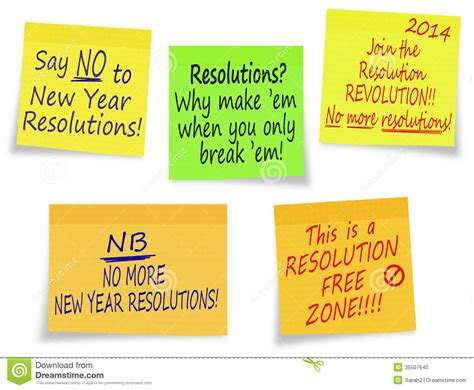 new year history summary new year resolutions no thanks assorted messages stock