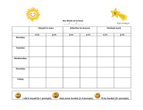 weekly behavior charts printable for kids activity