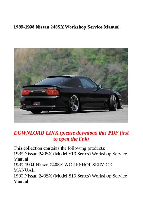 1989 1998 Nissan 240sx Workshop Service Manual By Molly