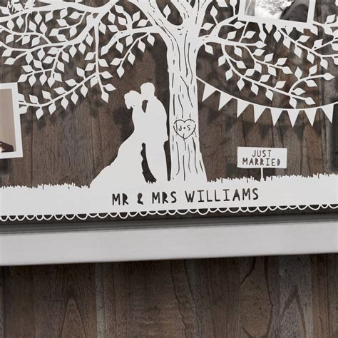 large personalised wedding tree photo papercut by the