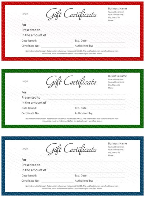 official gift certificate template for word
