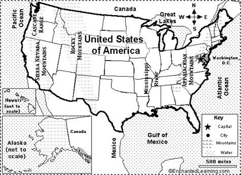 america map enchanted learning map of the united states and capitals quiz