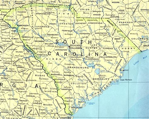 map of carolina cities south carolina base map