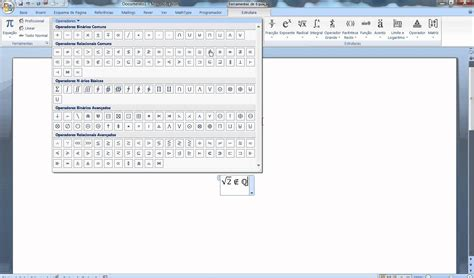simbolo raiz cuadrada en word inserir simbolos matematicos no word