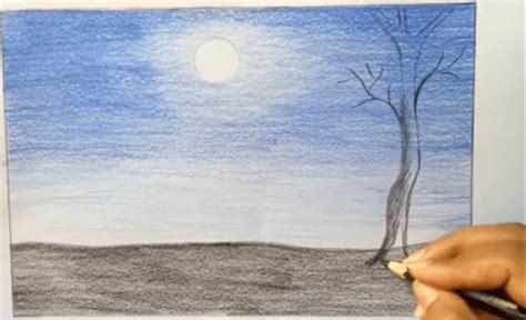tutorial menggambar pohon dengan pensil menggambar pemandangan malam bulan purnama dengan pensil