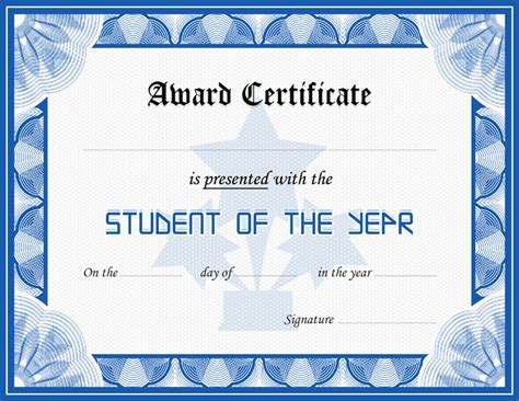 student certificate templates for word student award certificate template formal word templates