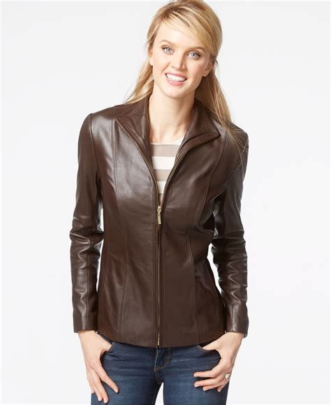 cole haan brown leather jacket cole haan stand collar leather jacket in brown lyst
