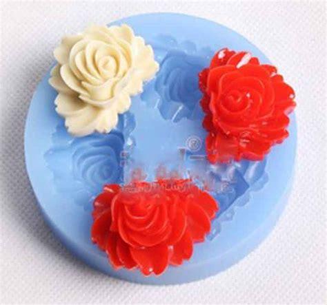 Cetakan Coklat Silikon Bunga Tipis Kancing Fondant cetakan silikon bloom 3 cav fondant cetakan jelly cetakan jelly