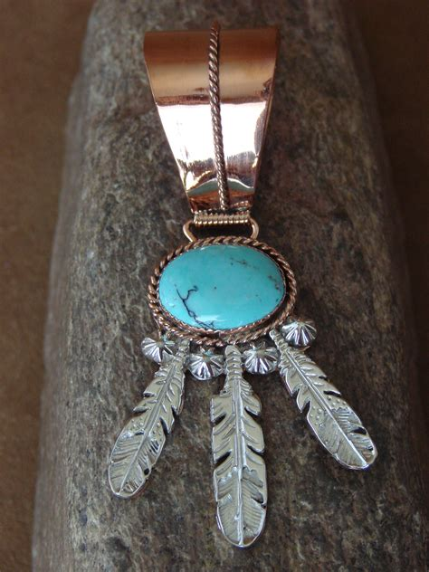 Handcrafted American Jewelry - american jewelry copper turquoise feather pendant