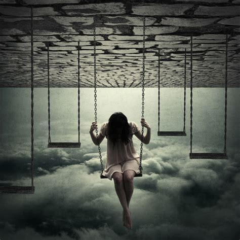 swinging eaven alone aloof clouds girl heaven melancholy image