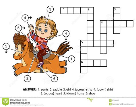 horse color pattern crossword vector color crossword little girl on a horse stock