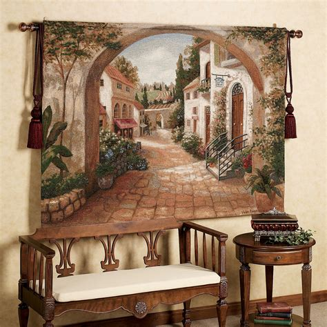 italian inspired decor quaint town tapestry