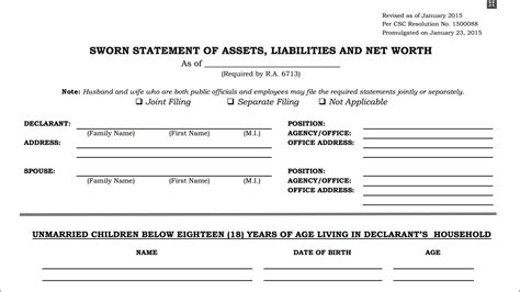 statement of assets and liabilities template statement of assets liabilities and net worth saln form