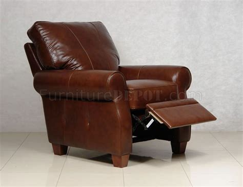 full reclining chair dark caramel full italian leather pushback recliner chair