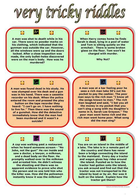 printable riddles very tricky riddles worksheet free esl printable