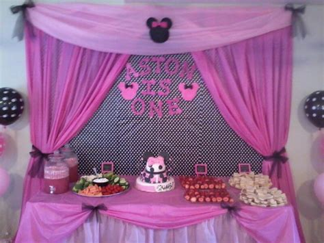 cake and food table for aston s minnie mouse birthday