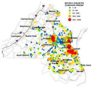 Energy Outage Map Electric Power Outages Spread In Irene S