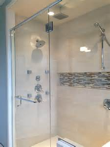 bathroom shower niche ideas chrome corner head shower with built in shower niche for soap storage and dark ceramic wall tile