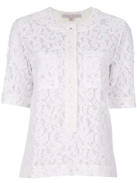 Blouse Lonceng Kaos Denim Ld 110 lyst beckham lace blouse in white