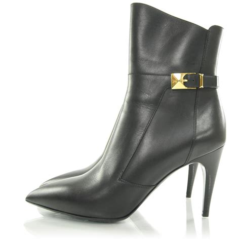louis vuitton leather black high heel ankle boots 38 28281