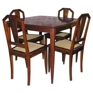 Game Table Chairs 1940 S Mahogany Game Table And Chair Set At 1stdibs