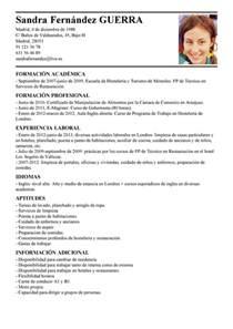 Curriculum Vitae En Francais by Modelo De Curr 237 Culum V 237 Tae Empleada Dom 233 Stica Empleada