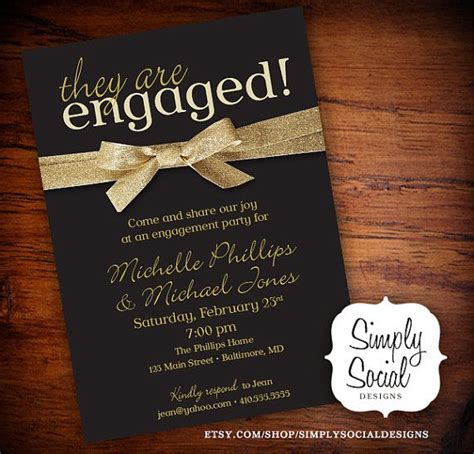 Engagement Invitations by Engagement Invitation Black And Gold Glitter Ribbon