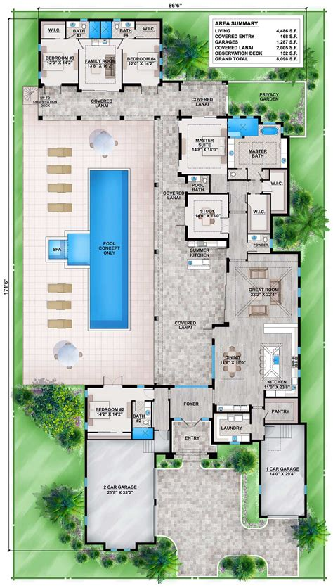 florida house plan with guest wing 86030bw