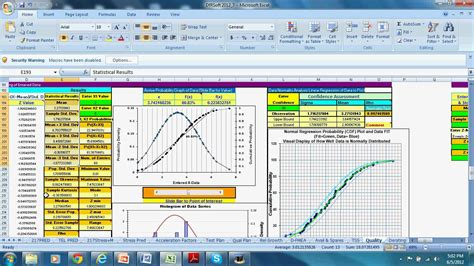 capability study excel template process capability yield and normal distribution analysis