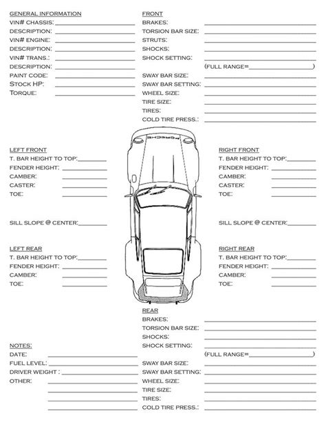 car set up info sheet pelican parts forums
