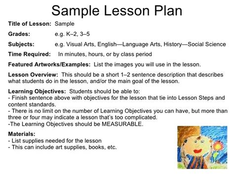 visual arts lesson plan template 1000 ideas about lesson plan sle on