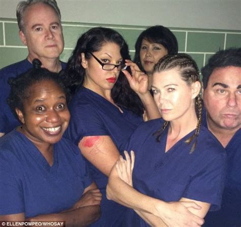 ellen pompeo and grey s anatomy cast pose as orange is the