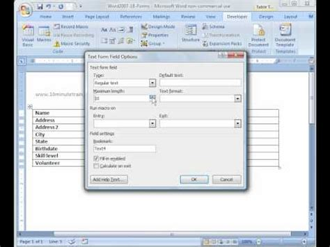 word 2007 tutorial 18 creating forms in word youtube