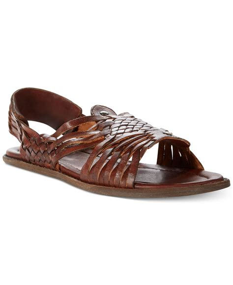 brown sandals for lyst frye lawson huarache sandals in brown for