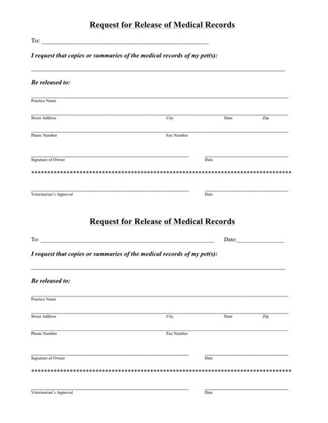Request For Records Hospital Request Form For Release Of Records In Word And Pdf Formats