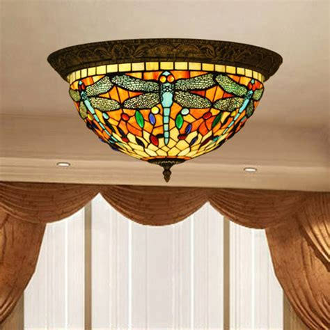 Vintage Tiffany Style Stained Glass Dragonfly Ceiling L Stained Glass Ceiling Lights