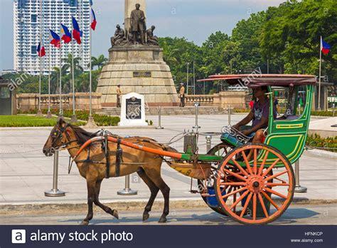 kalesa philippines kalesa at rizal park luneta manila philippines stock