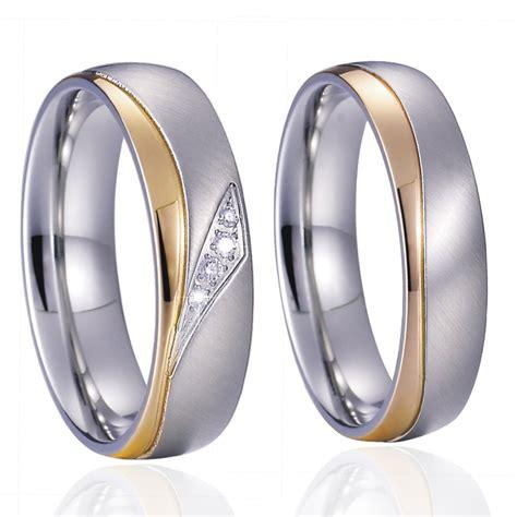 unique alliance anel ouro titanium promise wedding band