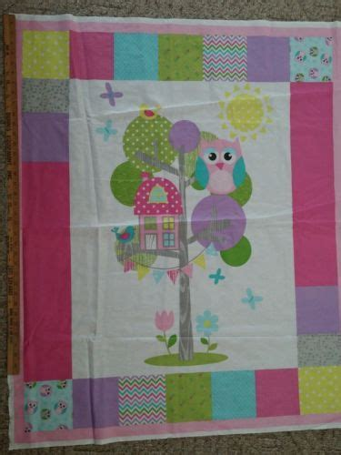fabric crafts baby baby quilt panel owl tree house birds fabric craft