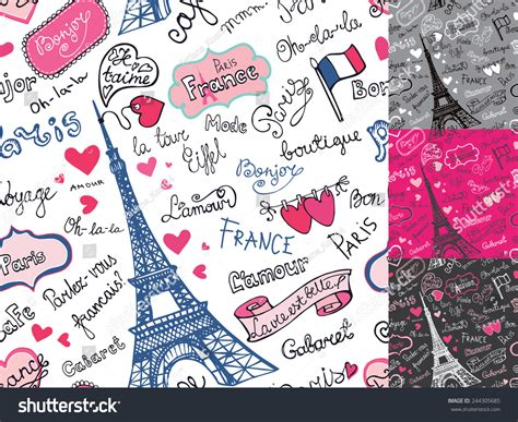 seamless pattern en francais paris symbolsletteringemblems seamless patternbackground
