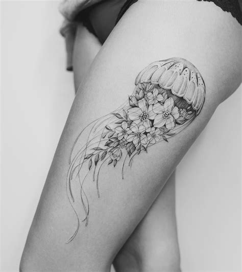 unique thigh tattoos floral jellyfish hip design by tritoan seventhday