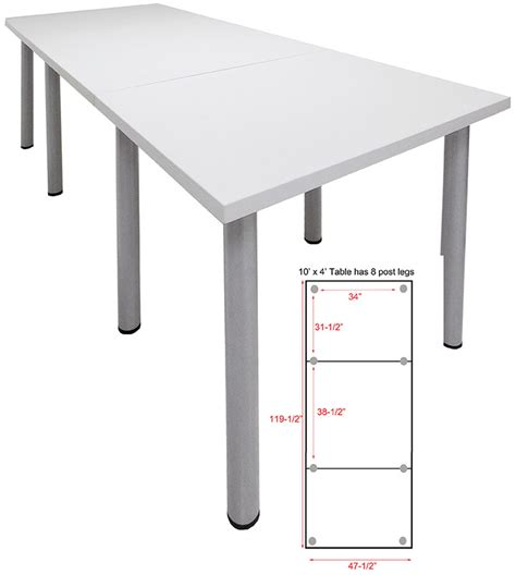 10 x 4 conference table standing height conference tables w post legs in