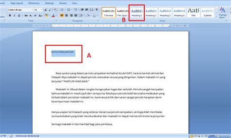 cara membuat daftar isi otomatis di excel cara cepat membuat daftar isi otomatis microsoft word 2007