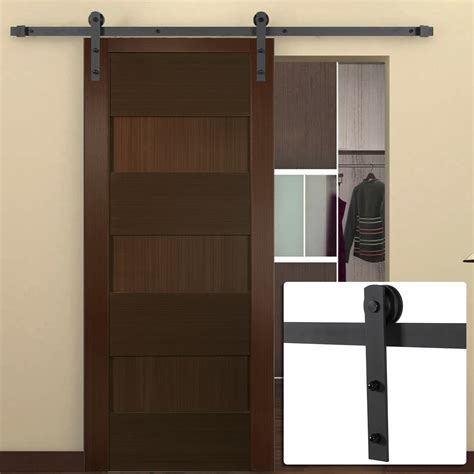 Sliding Barn Style Closet Doors 6ft Antique Country Style Steel Sliding Barn Door Closet Hardware Frosted Black Ebay