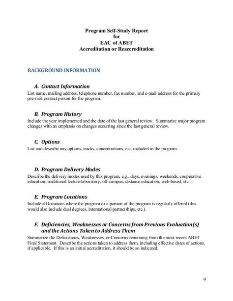 Abet Self Study Report Template Eac Self Study Questionnaire 2014 2015