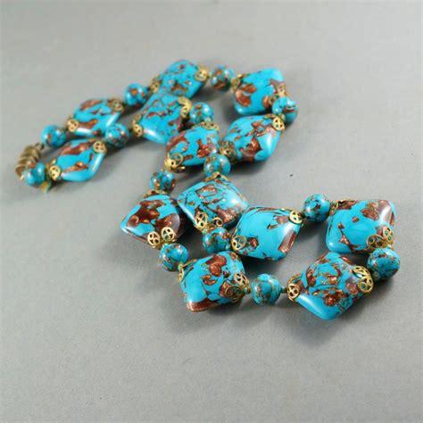 italian glass bead necklace venetian italian lwork glass bead necklace blue goldstone