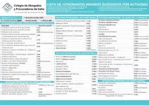 tarifa honorarios abogados 2016 colegio de abogados y procuradores de salta