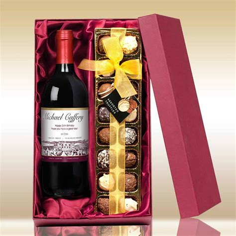 personalised red wine and chocolates i just love it